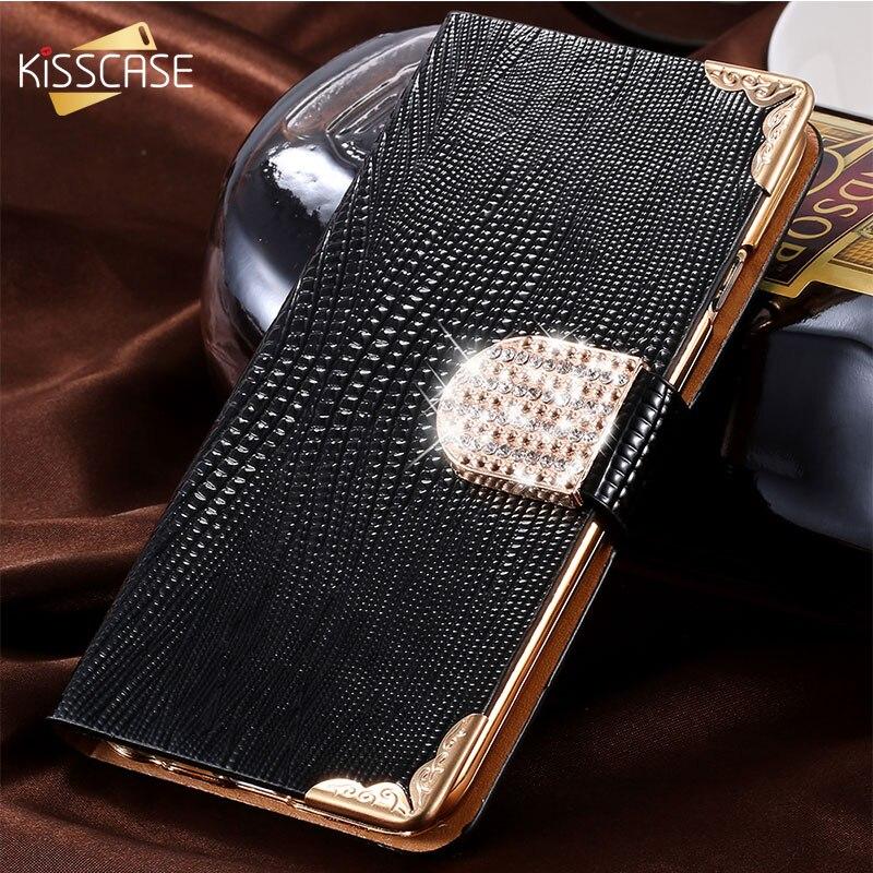 KISSCASE For iPhone 8 5 6 7 Plus 5s SE 4S Case Glitter Diamond Luxury Rhinestone Leather Wallet Flip Case For iPhone 7 8 X Case