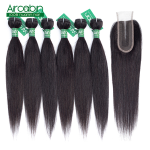 Brazilian Straight Hair Weave Bundles With Closure Natural Color Human Hair Extension 50g Bundles With 2x4 Lace Closure Non-Remy