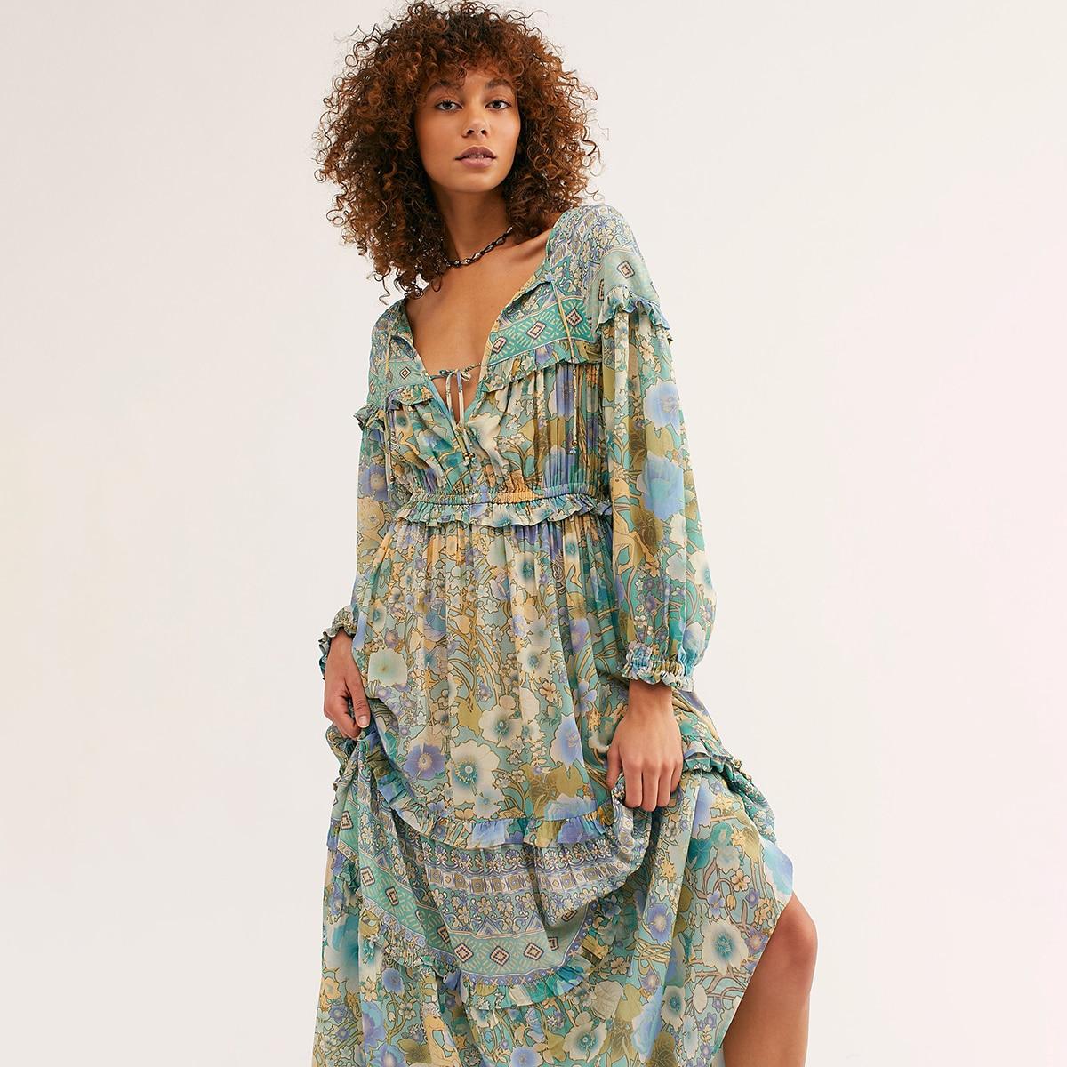 Jastie à volants garniture Boho robe gitane imprimé Floral robes de plage v-cou à manches longues femmes robe améthyste robe d'été robes 2019