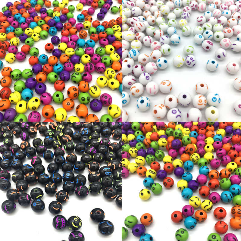 8mm 100pcs/Lot Cheap Acrylic Beads Handmade DIY Necklace Bracelet Jewelry Making Wholesale Beads Pattern Random Send Goods