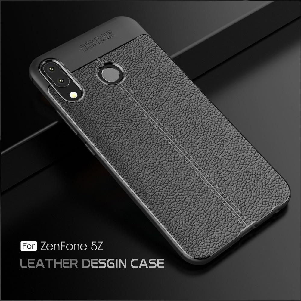 Litchi Grain Phone Case For Asus Zenfone Max Plus M1 Zb555Kl Live Zb501Kl Ar Zs571Kl 5Z Zs620Kl Luxury Soft Silicone TPU Case