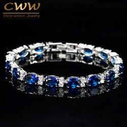CWWZircons Brand CZ Tennis Bracelet Jewelry Women Fashion Sweet Girls Blue Crystal Bracelets Bangles Best Gift  CB062