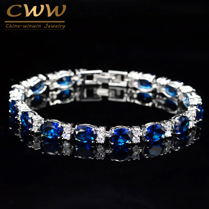 CWWZircons Brand CZ Tennis Bracelet Jewelry Women Fashion Sweet Girls Blue Cryst