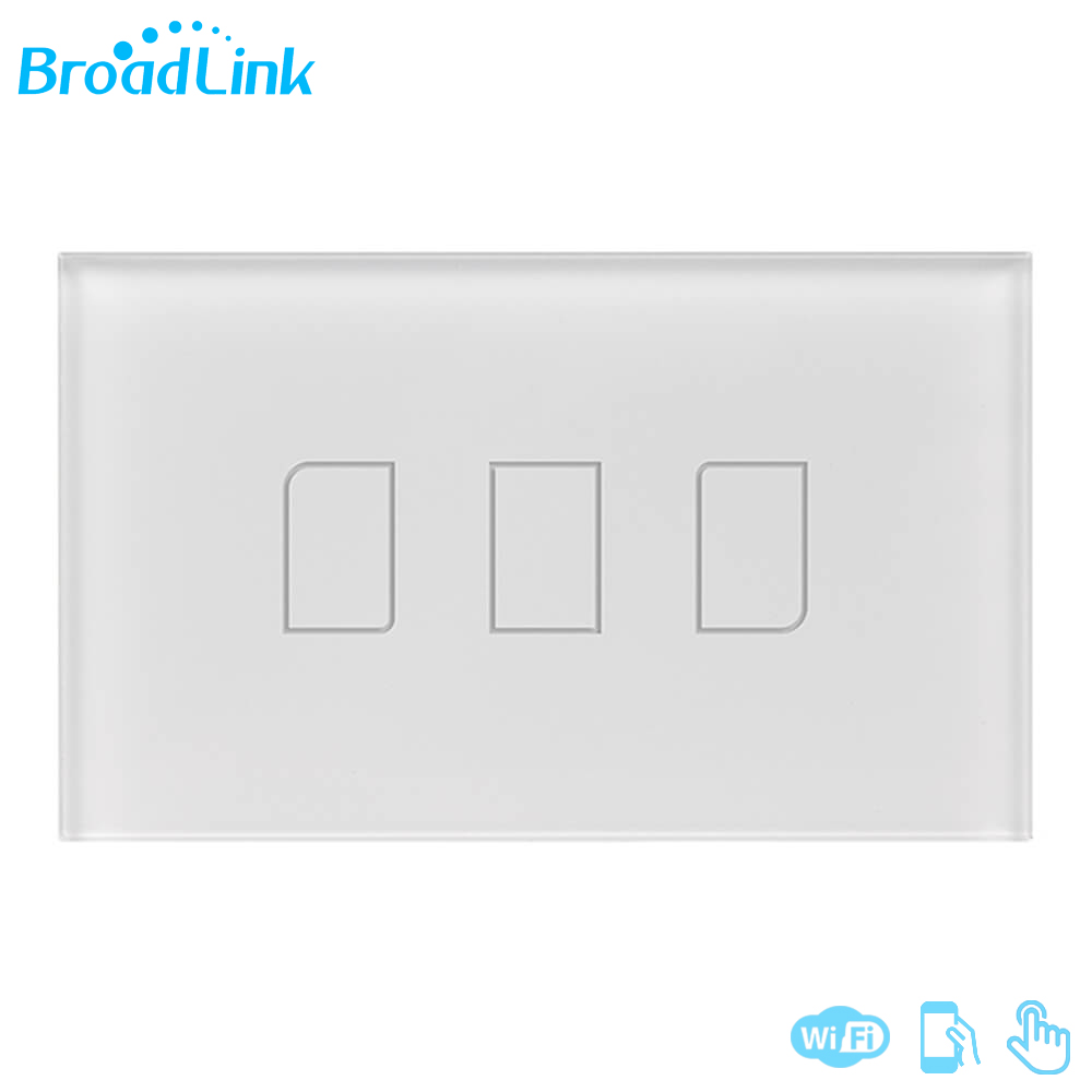 Original Broadlink TC2 3Gang 433MHZ Connection Wall Touch Panel Light Switch Remote Control US Standard For