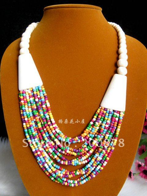 TNL452  Tibetan colorful Yak bone beaded necklace,multi strands statement,ethnic fashion Bohemian necklace,Low MOQ