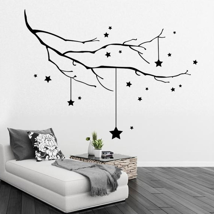 2016 New diy Home Decor Tree Christmas Star wall stickers decorative ...