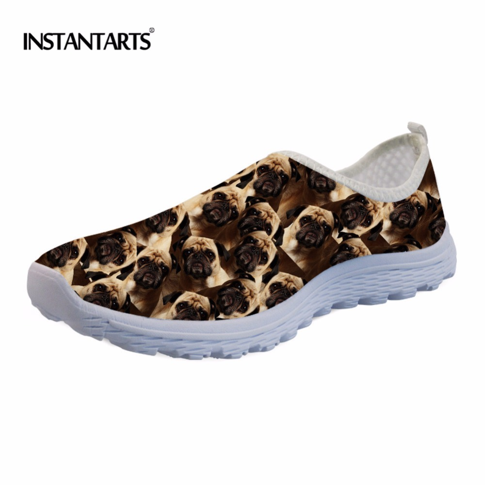 INSTANTARTS Women Casual Sneakers Summer Mesh Breathable Flat Shoes Zapatos Mujer Cute Dogs Design Pug Dog Student Woman Shoes