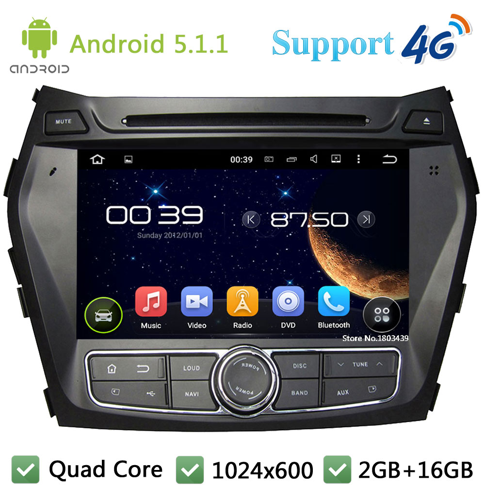 "Quad Core 8"" 1024*600 Android 5.1.1 Car Multimedia DVD Player Radio DAB+ 3G/4G WIFI GPS Map For Hyundai IX45 Santa FE 2013-2015"