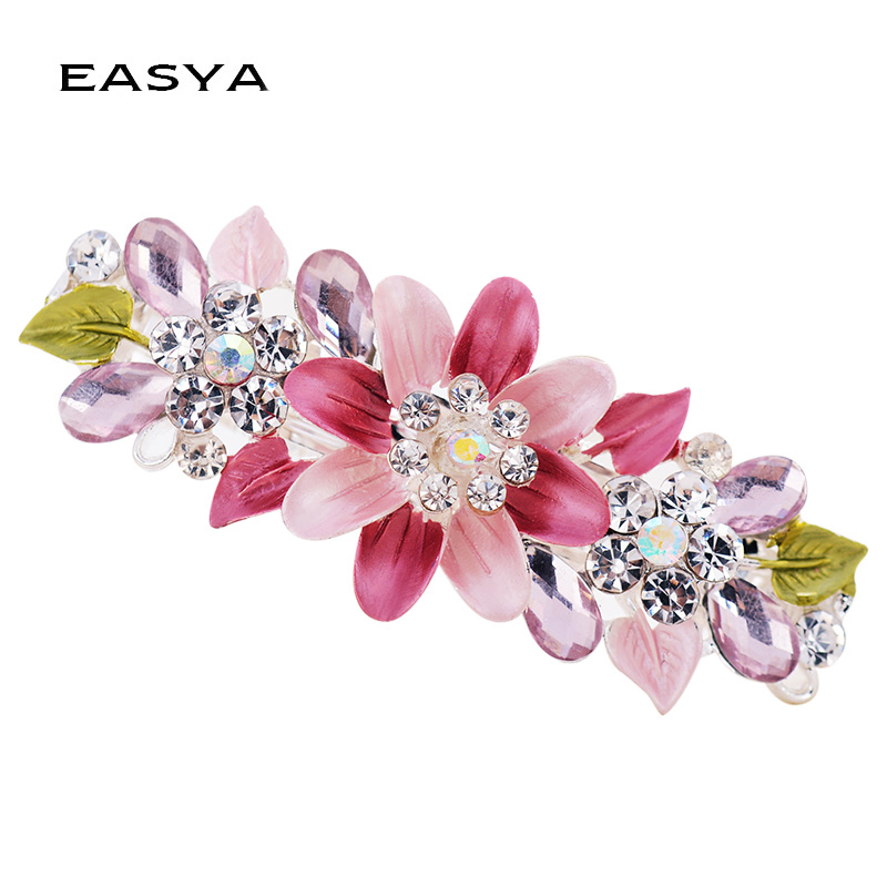 EASYA Fashion Exquisite Crystal Flower Hairpin Enamel Barrettes Girls Hair Accessories Headwear Jewelry For Women Girls