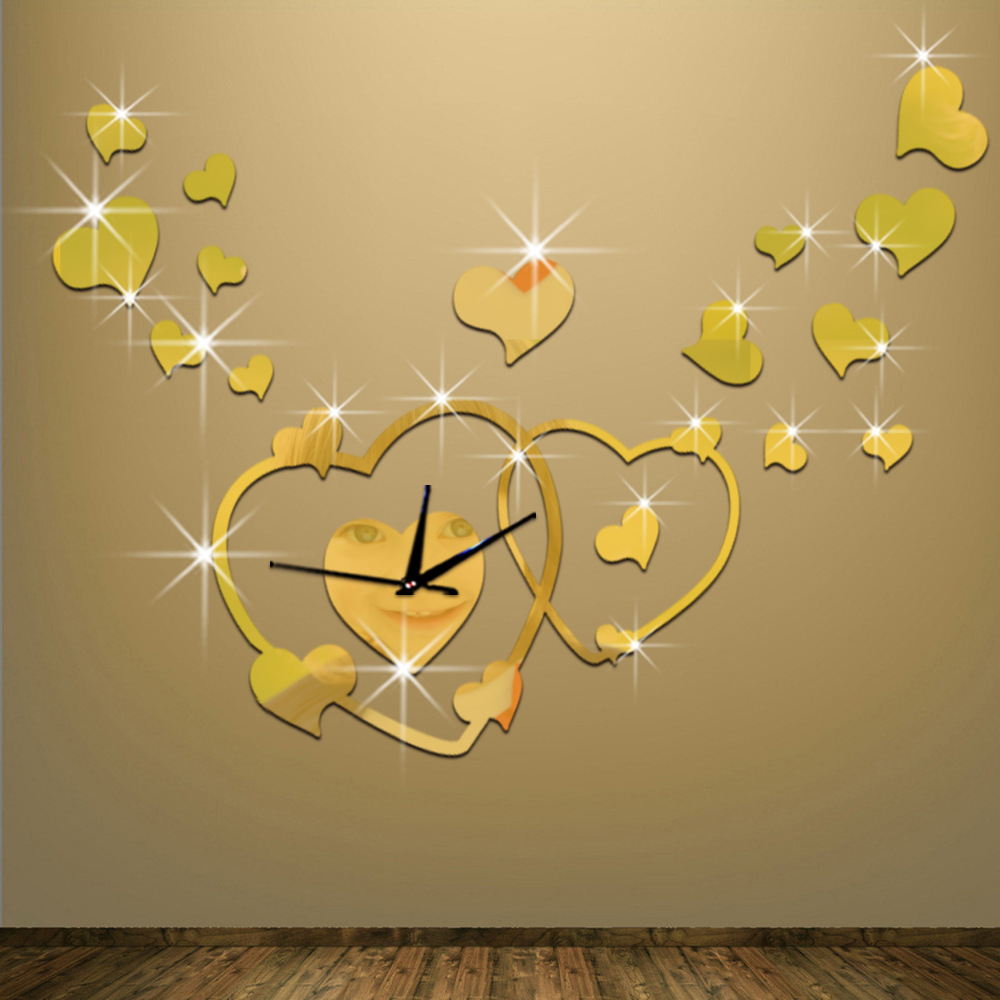 3D Love Hearts Mirror Effect Wall Clock Sticker Fashion Design Art ...