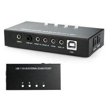 Новый USB 7.1 5.1-канальный 3D Внешняя Звуковая Коробка Звук Поддержка Карт Цифрового Потокового Аудио Vista
