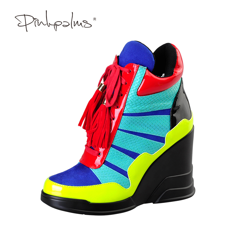Pink Palms 2017 women summer shoes mixed color ankle strap red fringe casual high heel wedges boots the palms 4 о пхукет