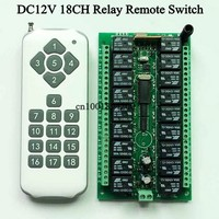 DC 12V 18CH Relay Remote Switch 18 Relay Receiver 18 Button Remote Transmitter Contact RX TX