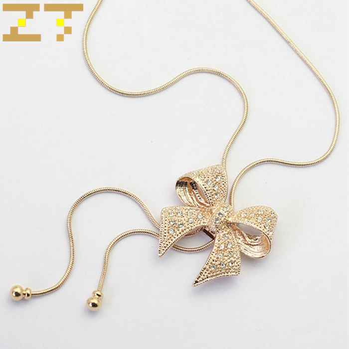 Hot Sale Fashion Crystal Gold Silver Color Hollow Bowknot Pendant Copper Chain Long Statement Choker Necklace for Women Jewelry