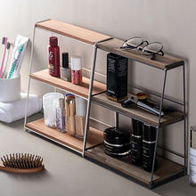 Nordic wrought iron storage rack home double desk cosmetic debris metal desktop finishing kitchen rack все цены