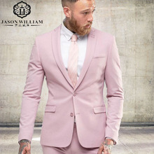 LN010  Arrival Light Pink Men Suit Slim Party Dress Groomsmen Tuxedo For Beach Wedding Young Mens Daily Work Wear(Jacket+Pants)