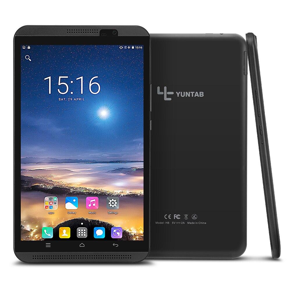 Yuntab 8 pulgadas H8 Android 6,0 Quad-Core 4G phablet tablet pc soporte tarjeta SIM dual con doble cámara 5000 mAh batería