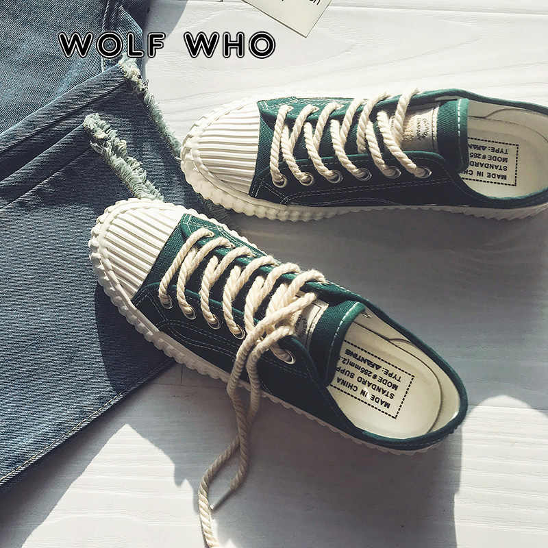 9a72f49493b3 WOLF WHO Canvas Casual Shoes Male Sneakers Lace up Student Shoes Chaussure  Homme Men Hot Sale