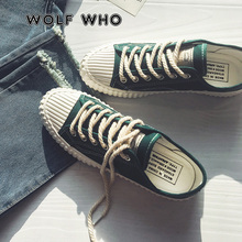 WOLF WHO Canvas Casual Shoes Male Sneakers Lace up Student