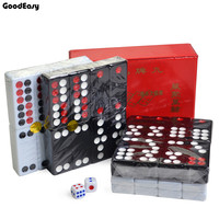 Black & White Dominos Game Pai Gow 32pcs Dominoes with Box and 2 Dices High Quality Board Game