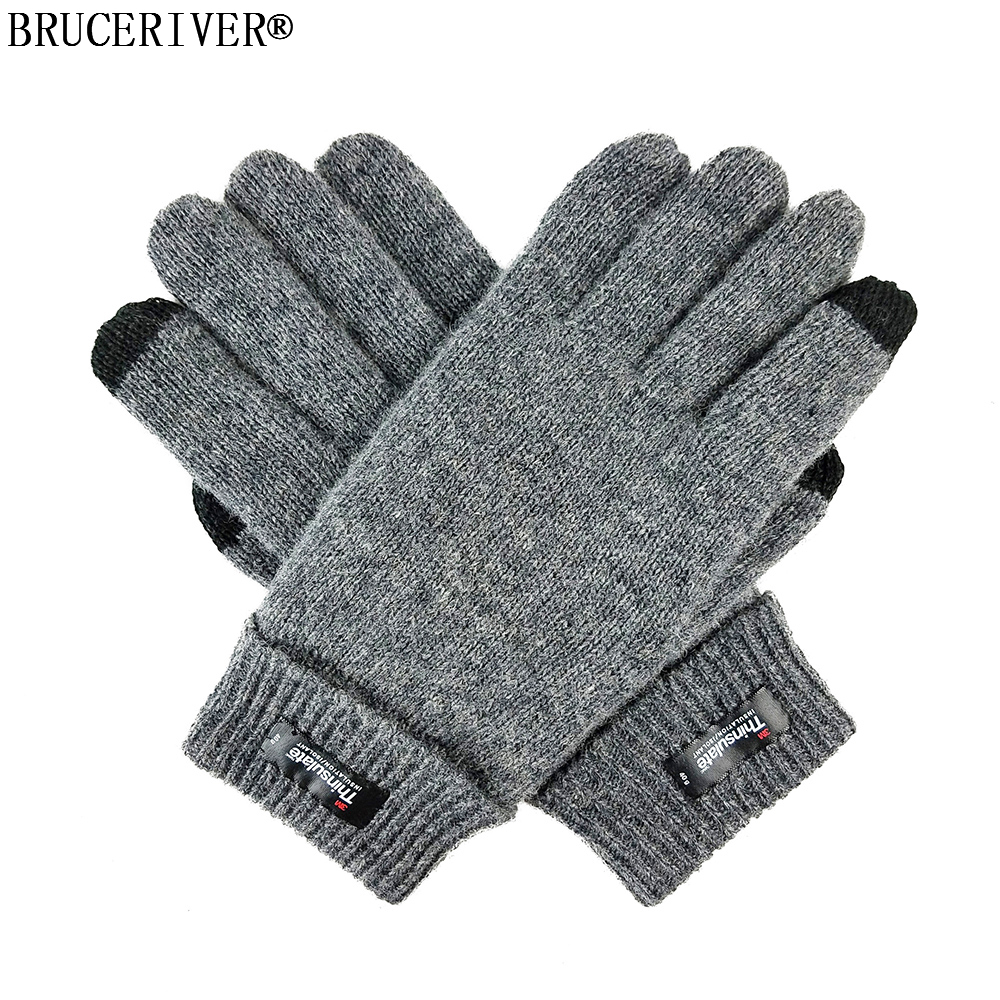Bruceriver Men's Pure Wool Knitted Gloves With Thinsulate Lining And Touch Screen Function