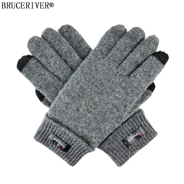 22001d90cbb55 Bruceriver Men s Pure Wool Knitted Gloves with Thinsulate Lining and  Touchscreen Function