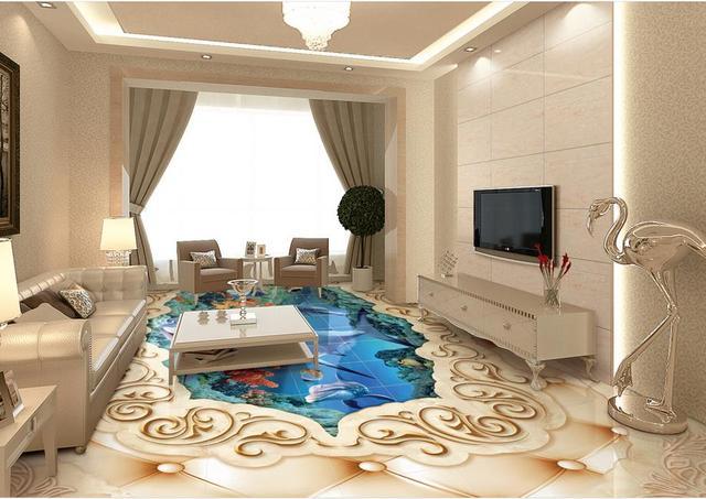 custom 3d floor mural Lotus Marine wall papers home decor living ...