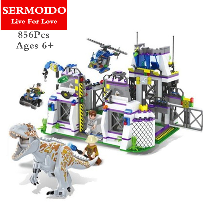 SERMOIDO Dinosaur Indominus Rex Breako Jurassic Dinosaur World 856pcs Bricks Building Block Toys Gift For Children B314 wiben jurassic tyrannosaurus rex t rex dinosaur toys action
