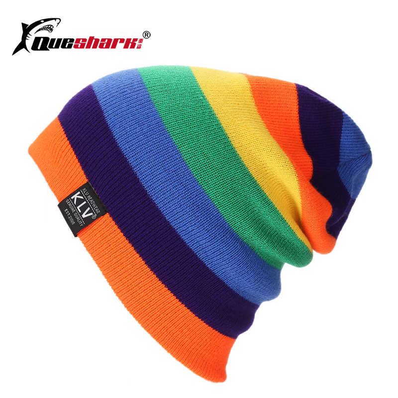 f0210925d60 Winter Skiing Hats Rainbow Striped Ski Hat Unisex Warm Knitted Men  Snowboard Hat Beanies Hip Hop