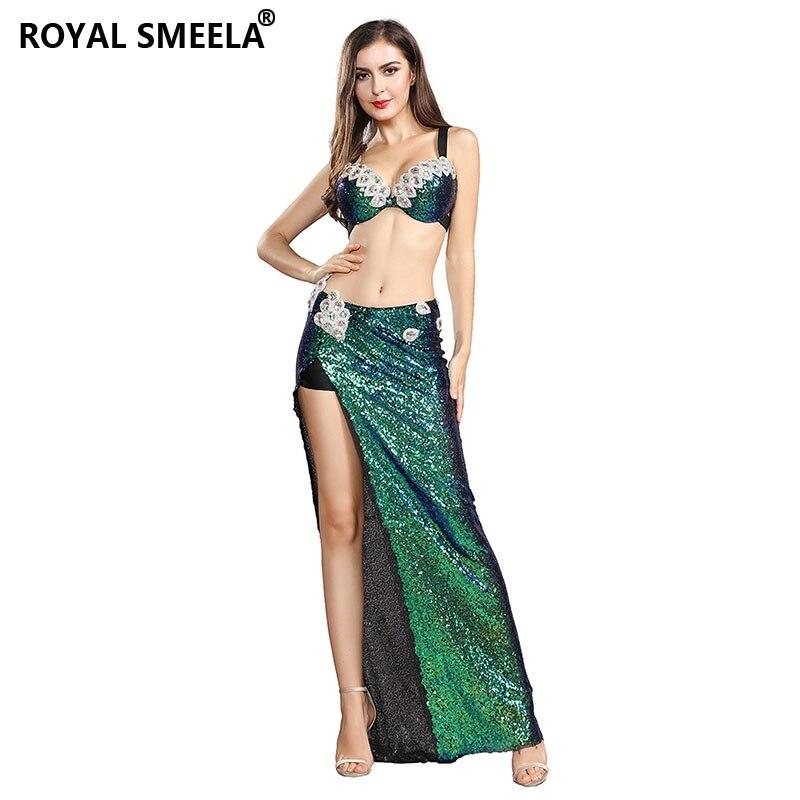2019 Women Belly Dance Bra Skirts Professional Outfir 2pcs Bling Bling Mermaid Dance Costume Set Gold Green 119060