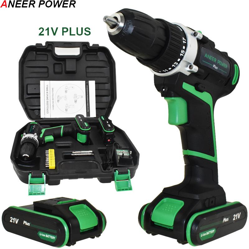 21V Plus Cordless Drill Electric Drill 2 Batteries Electric Screwdriver Power Tools Battery Mini Hand Drill Drilling Screwdriver free shipping brand proskit upt 32007d frequency modulated electric screwdriver 2 electric screwdriver bit 900 1300rpm tools