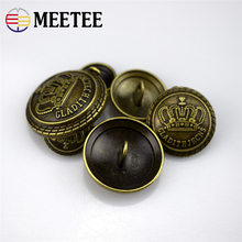 10PCS Meetee 13/15/17/20/22/25mm bronze color Crown metal button DIY sewing Craft  garment accessories materials E1-4