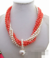Women Gift word noble women gift Jewelry Silver Clasp Natural Love real 6Strads Pearl&Coral Pearl Necklace silver jewelry