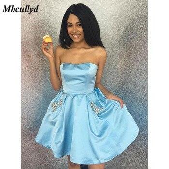4d452126e33 Mbcullyd Синий Атлас Платья для выпускного 2019 новый сексуальное короткое  платье с открытой спиной до колена