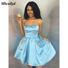 Mbcullyd Blue Satin Graduation Dresses 2019 New Sexy Backless Short Knee  Length Homecoming Vestido de formatura Cheap Plus Size 00edf421f1b6