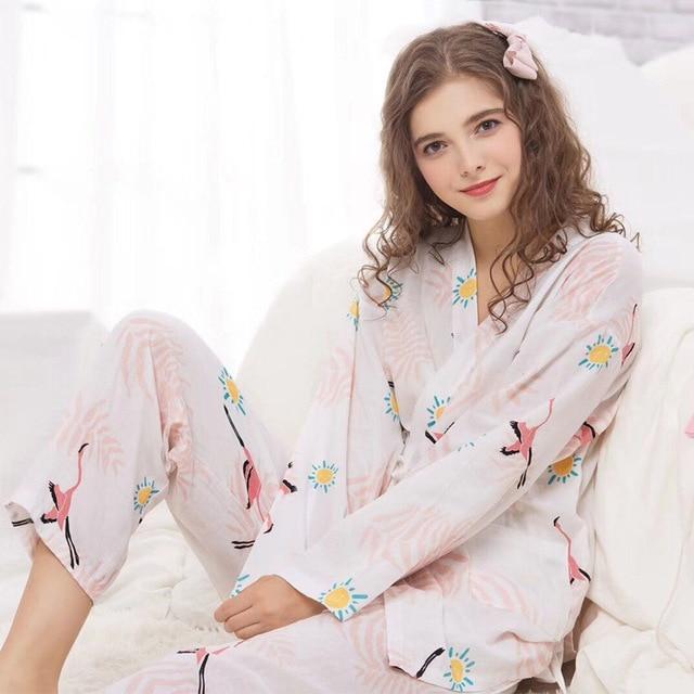 f13d5f7949 Women Nursing Pregnancy Pajamas Suit Maternity Print Cotton Nightgown  Sleepwear Sets Pregnant Wrap Soft Pajamas AA51361