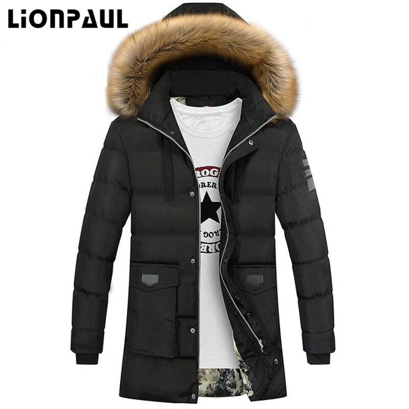 LIONPAUL 2017 New Arrival Winter Coats Parkas Jacket Fashion Slim Fit Men Hooded Thick Warm  Men's Down Jackets Parka Male Coat