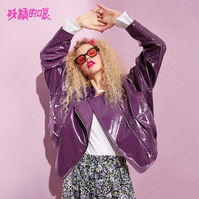 ELF SACK 2019 New Fashion Purple Jacket Woman Pu Leather Full Casual Outerwear Coats Women Turn