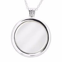 Large Floating Locket Silver Pendant and Necklace Original 925 Sterling Silver Jewelry Trendy Necklaces for Women DIY Jewelry