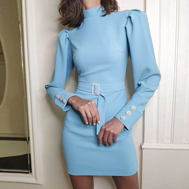 Image 2 - Fanbety New Autumn Puff shoulder long sleeve dress women Turtleneck solid belt mini dress Lady back zipper bodycon party dresses-in Dresses from Women's Clothing