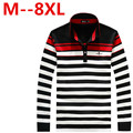 free delivery Autumn Long-sleeve Polo Shirt Men Fashion Stripe Polo Men Turn-down Collar Long -Sleeve Shirt Plus Size 8XL 7XL