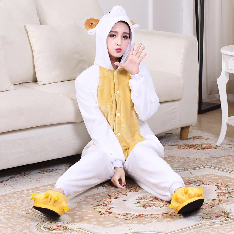 Cute Sheep Kigurumi Animal Onesies For Adult Men Winter One-Piece Pajamas Halloween Party Jumpsuit Soft Flannel Cosplay Costume (6)