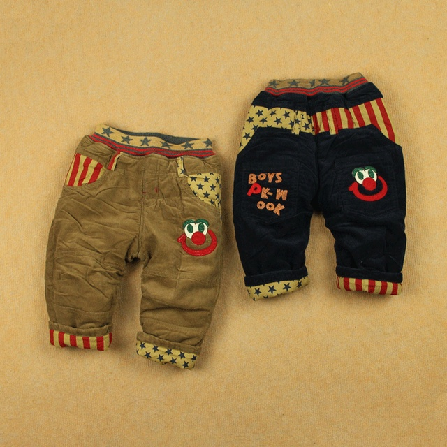 Infant children's pants male female child corduroy cotton-padded trousers baby openable-crotch long trousers
