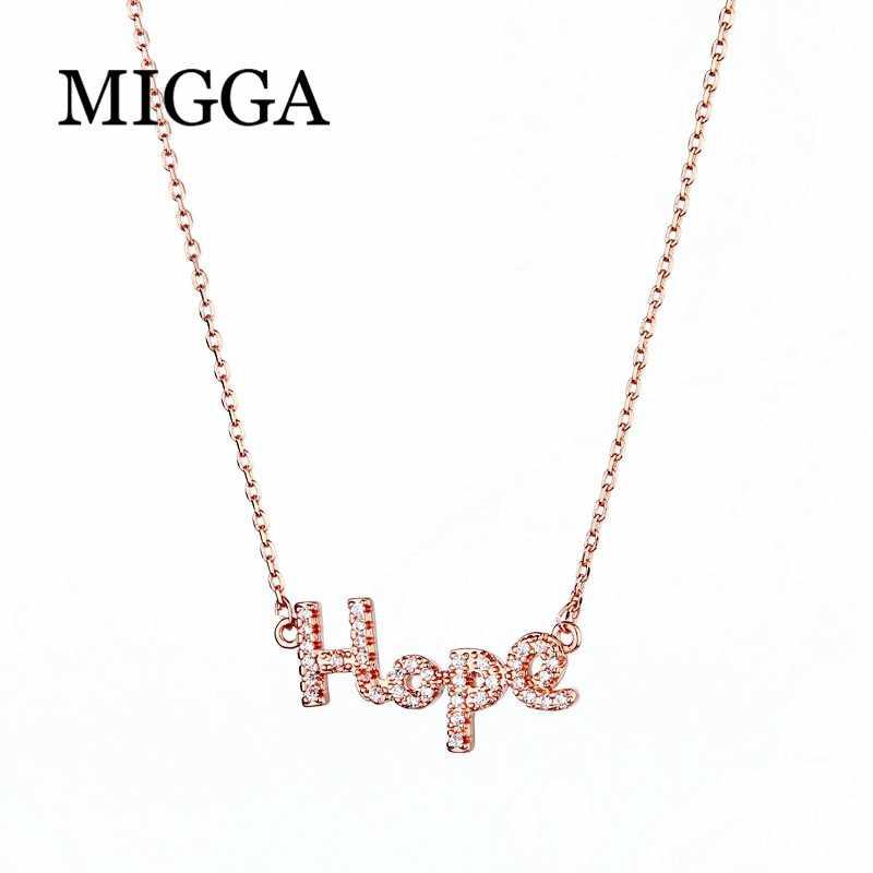 MIGGA Micro pavé cubique zircone espoir pendentif collier couleur or Rose mode femmes collier chaîne