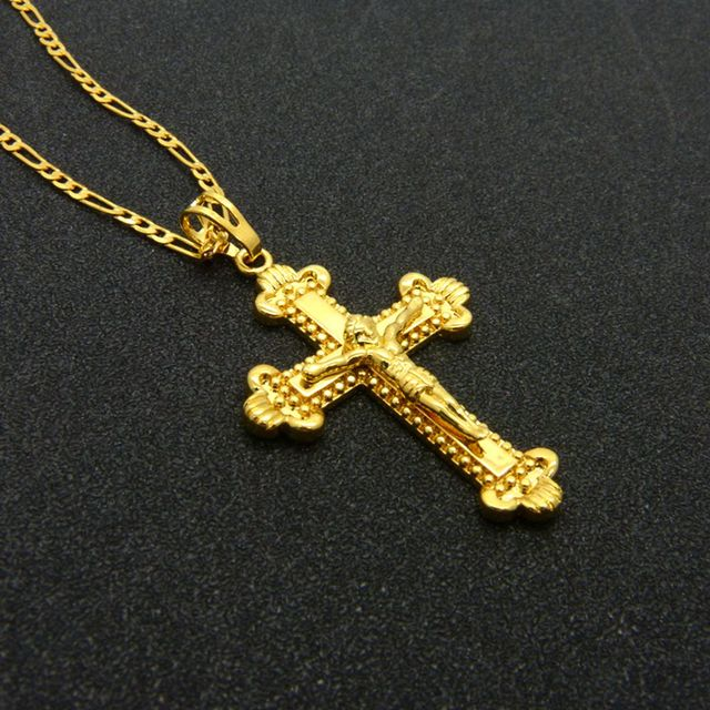 Clássico Jesus Cruz Pingente de Colar Das Mulheres Dos Homens Ouro Amarelo Cheio Minúsculo Cadeia Figaro Colar Jóias Cristão