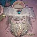 O envio gratuito de fita AB strass baby First Walkers Shoes DIY da criança do bebê bling adorável cristal criança crianças sapatos da menina D390