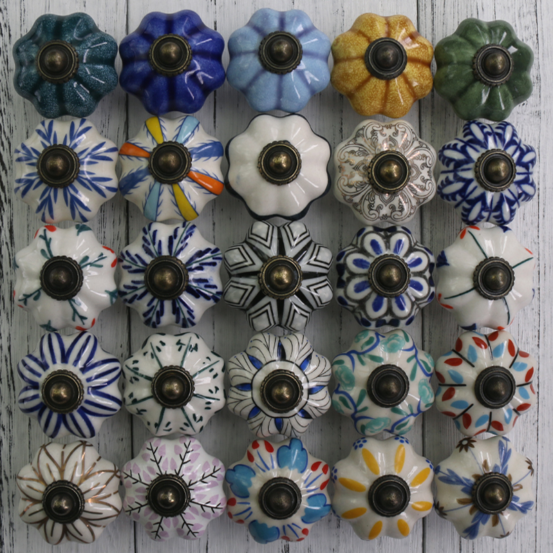 1x Ceramic Knobs Hand Painted Pumpkin Kitchen Cabinet Knobs Drawer Pulls Ceramic Porcelain / Antique Bronze Decorative Hardware