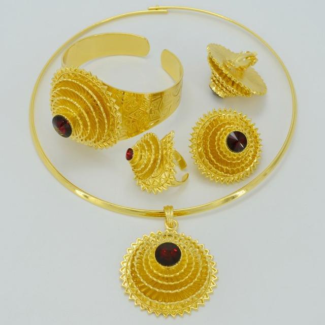 Etiopía conjuntos de Joyas de Oro, Regalos de Boda de Etiopía, Habesha Collar Anillo Pendientes Brazalete Chapado En Oro de África Nacional #001417