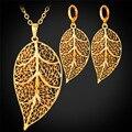 Oro de la manera Plateó Partido Dubai Sistemas de La Joyería de Las Mujeres de La Vendimia Marca Collar y Del Pendiente De La Hoja de La Boda jewellry Establece PE1573