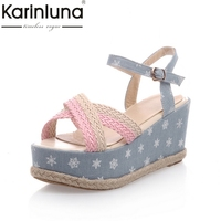 KarinLuna Good Quality Wholesale Sweet Wedges Heels Women Shoes Summer Sandals Comfortable Denim Woman Shoes